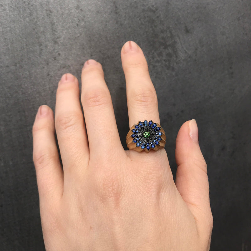 Small Power of Light Ring, Blue Sapphire and Tsavorite