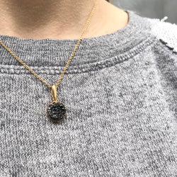 Baby Malak Caviar Round Necklace, Gold and Black Diamonds