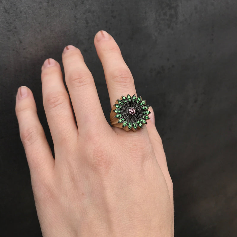 Large Power of Light Ring, Full, Tsavorite and Pink Sapphire
