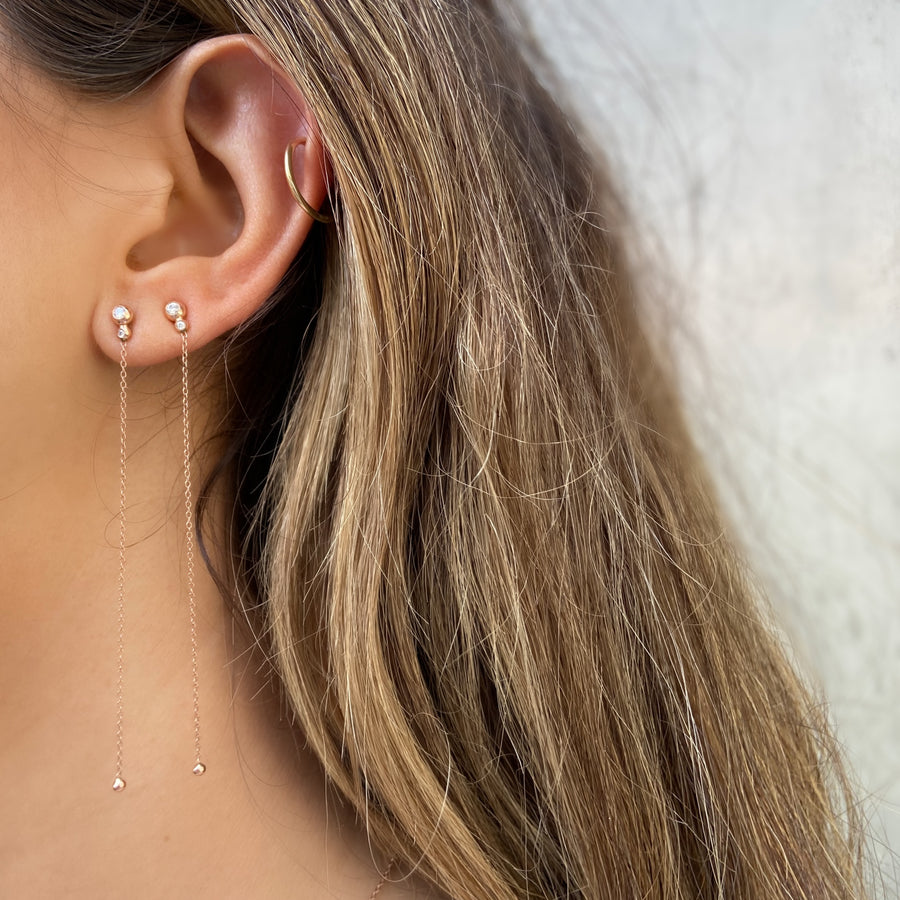 Two Diamond Drip Earrings, 14K Rose Gold