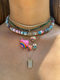 Beaded Multi Stone Candy Rainbow Necklace, 14K Gold Clasp