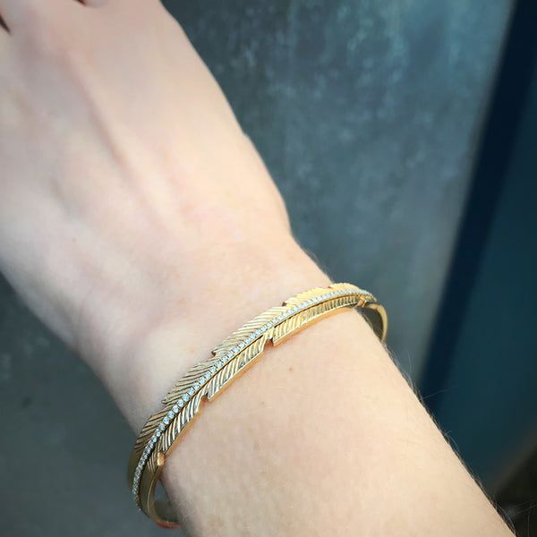 Diamond Feather Cuff, Yellow Gold