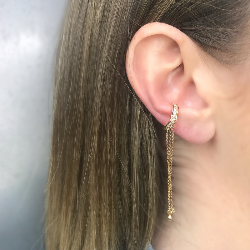 Ear Cuff, Diamond Dangle