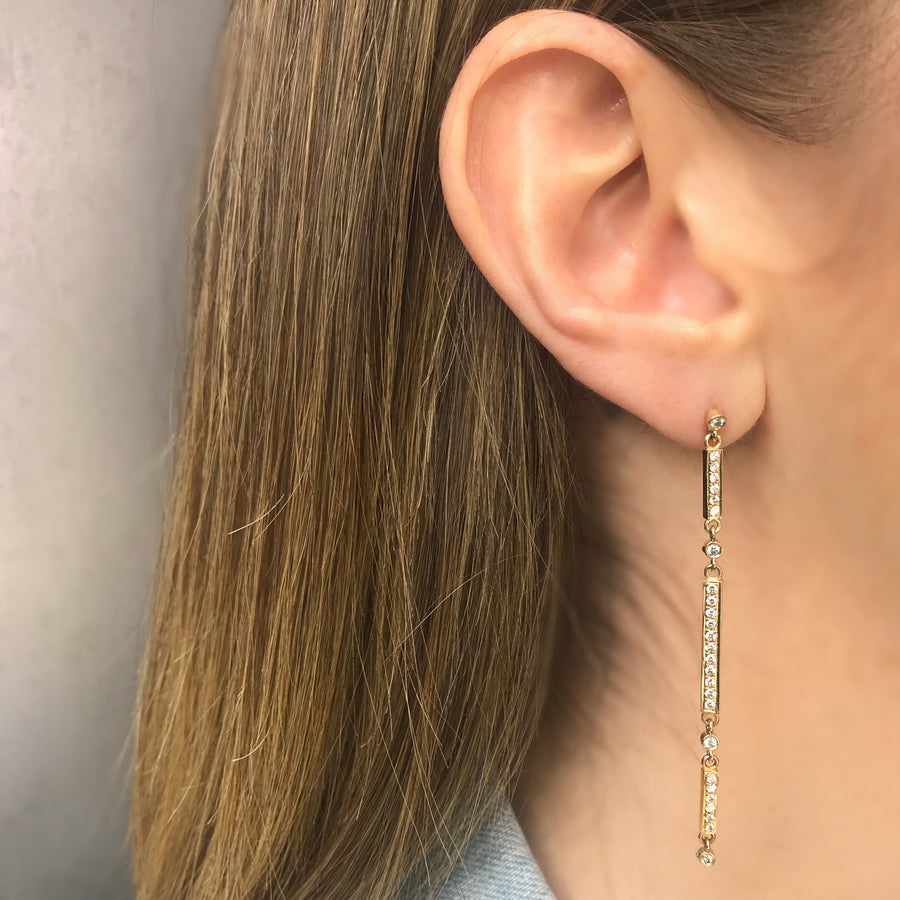 3 Bar Earring, 14K Yellow Gold