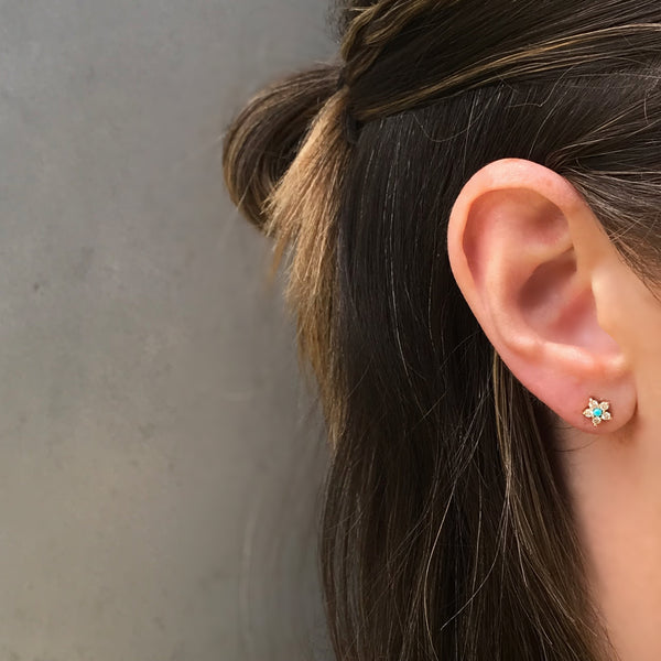 Daisy Stud, Gold Turquoise and Diamonds