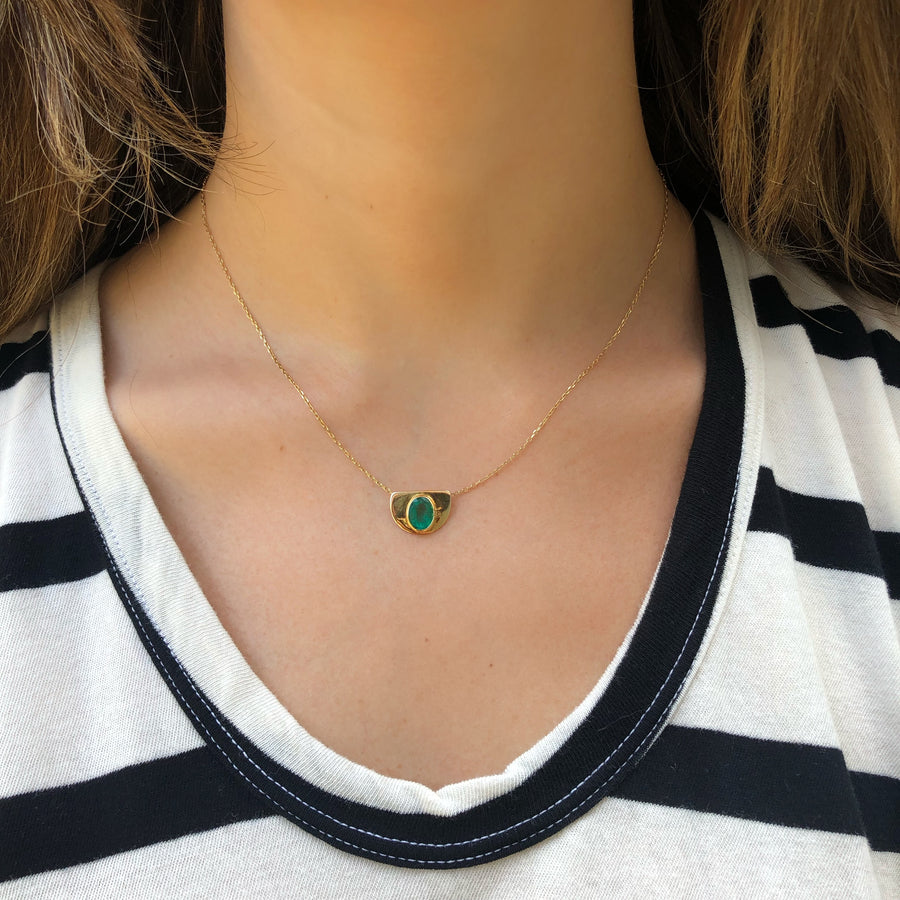 Half Moon Emerald Necklace
