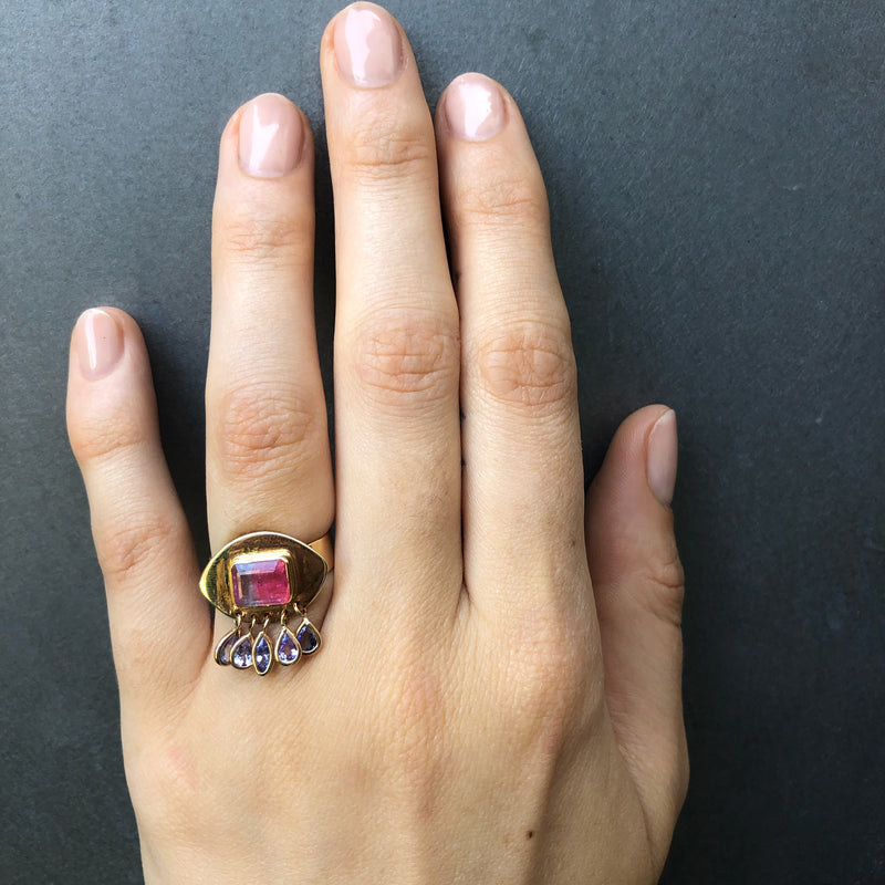 Eye Droplet Ring, Tourmaline and Tanzanite