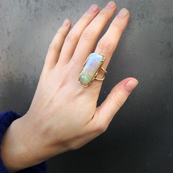 Large Opal Willow Ring, Yellow Gold