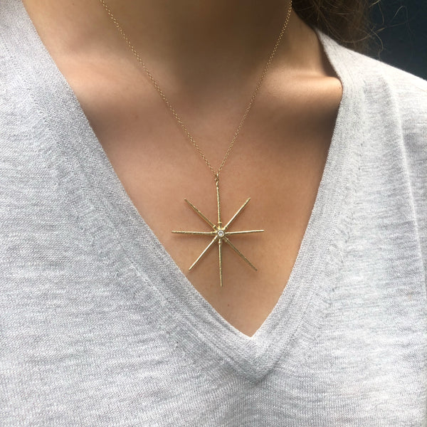 Sea Urchin Star Necklace, Diamond, Yellow Gold