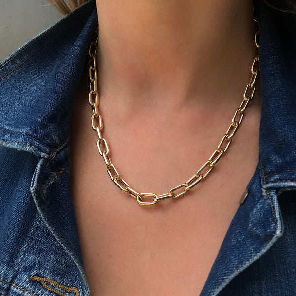 Thick Boxy Chain, Yellow Gold, 18""
