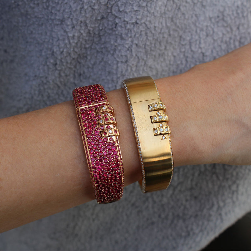 Code Bangle with Side Pave