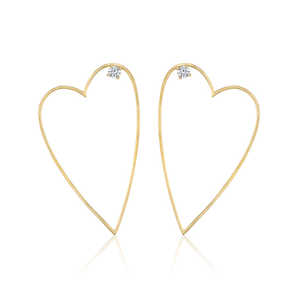 Open Heart Earrings, Medium