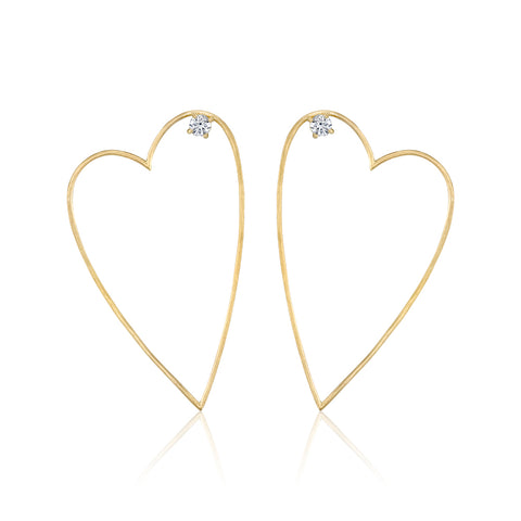 Medium Pavé Hoops, 14k YG
