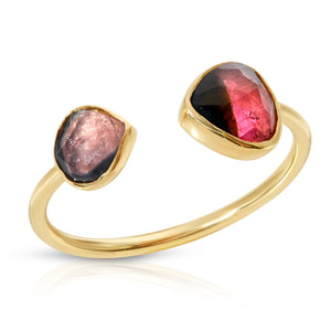 Double Bicolor Tourmaline Ring