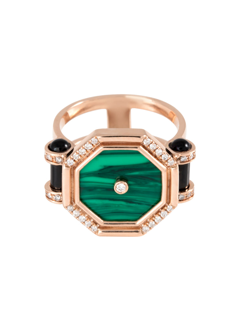 Pillar of Light Malachite Ring