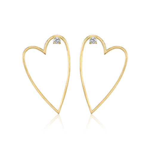 Open Heart Earrings, Left Ear