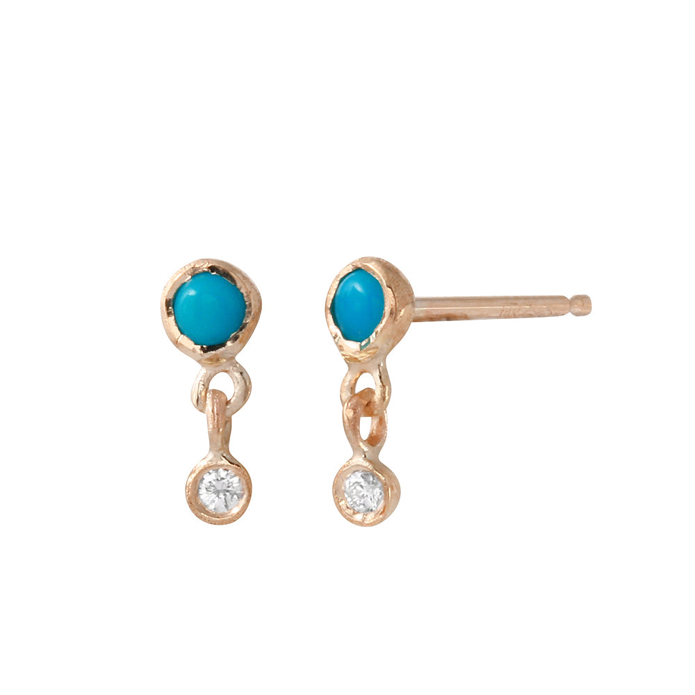 Turquoise and Diamond Dangle Studs, Rose Gold