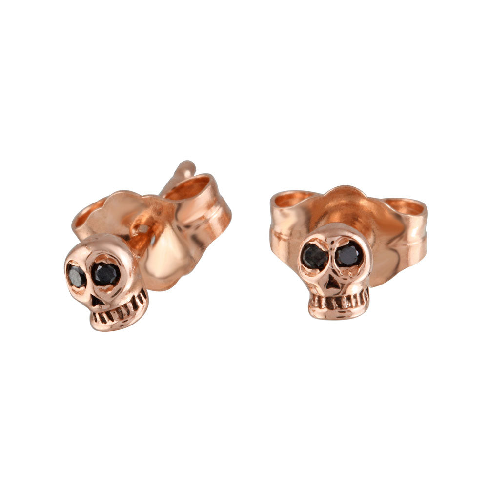 Black Diamond Tiny Skull Stud, Gold