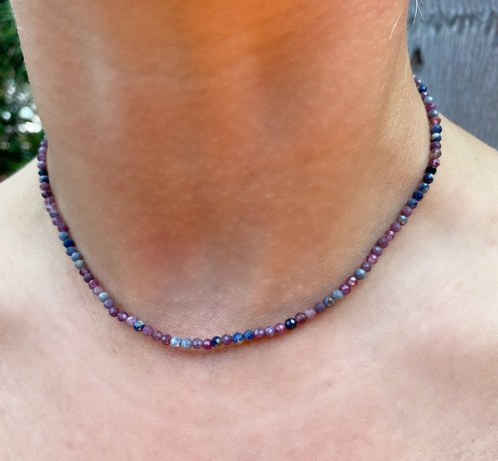 Red Ruby and Sapphire Beaded Necklace