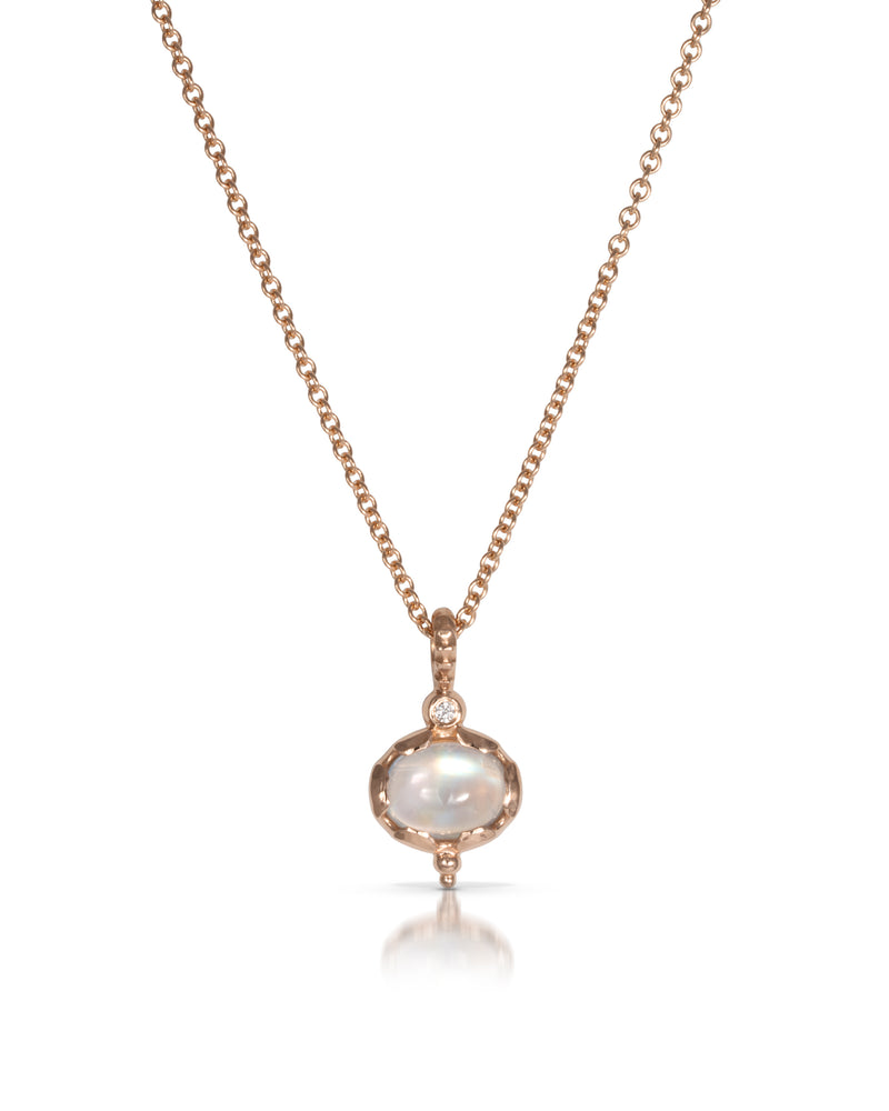Nile Pendant Necklace, Rainbow Moonstone, Diamonds, Rose Gold Chain