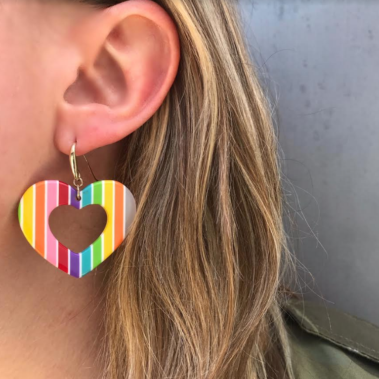 Lucite Rainbow Heart Earrings