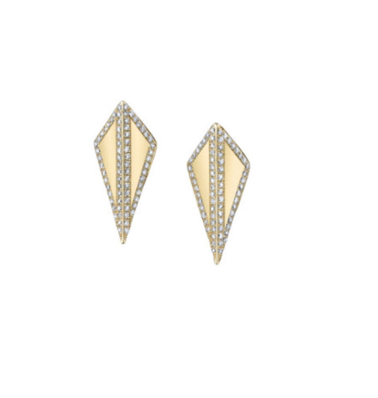 Isosceles Studs with Diamond Frame