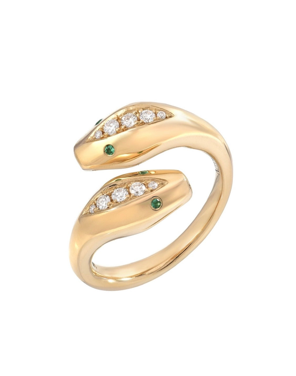 Yellow Gold Snake Ring w Emerald Eyes