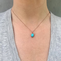 Oval Turquoise and Diamond Necklace, Rose Gold