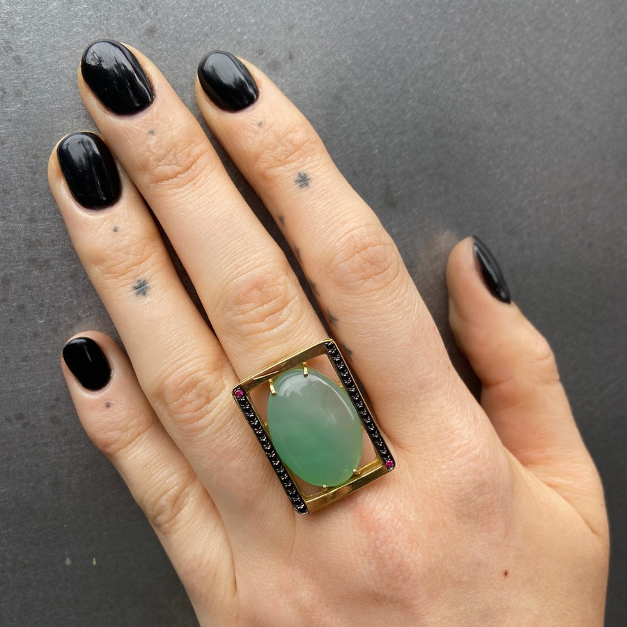 Chunky Green Onyx Ring, Black Diamonds, Rubies, Yellow Gold