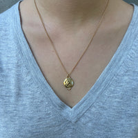 Roman Warrior Medallion Necklace, Yellow Gold