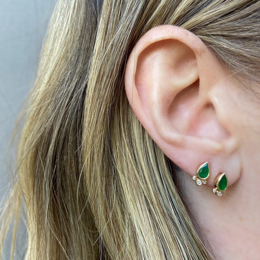 Tear Drop Emerald with Triple Diamond Stud, Yellow Gold