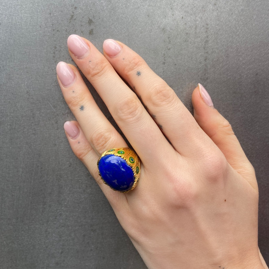 Mayura Peacock Ring, Lapis, Yellow Gold