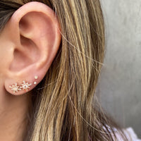 Diamond Snowflake Studs, Rose Gold