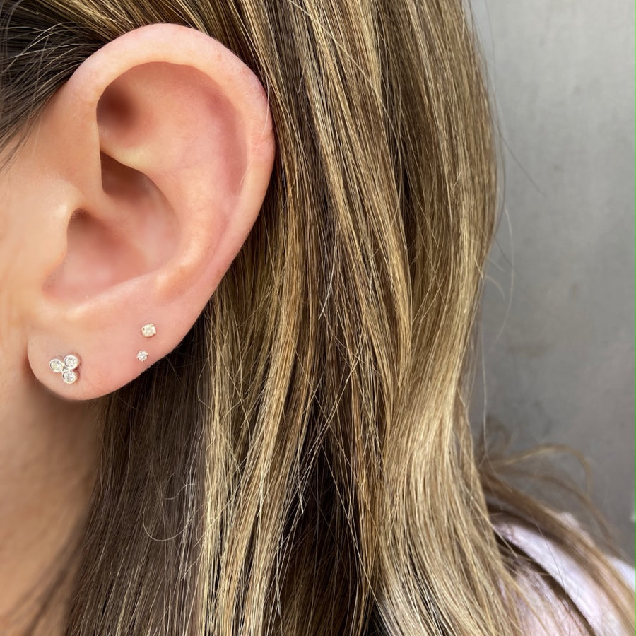 Three Dot Studs, White Gold