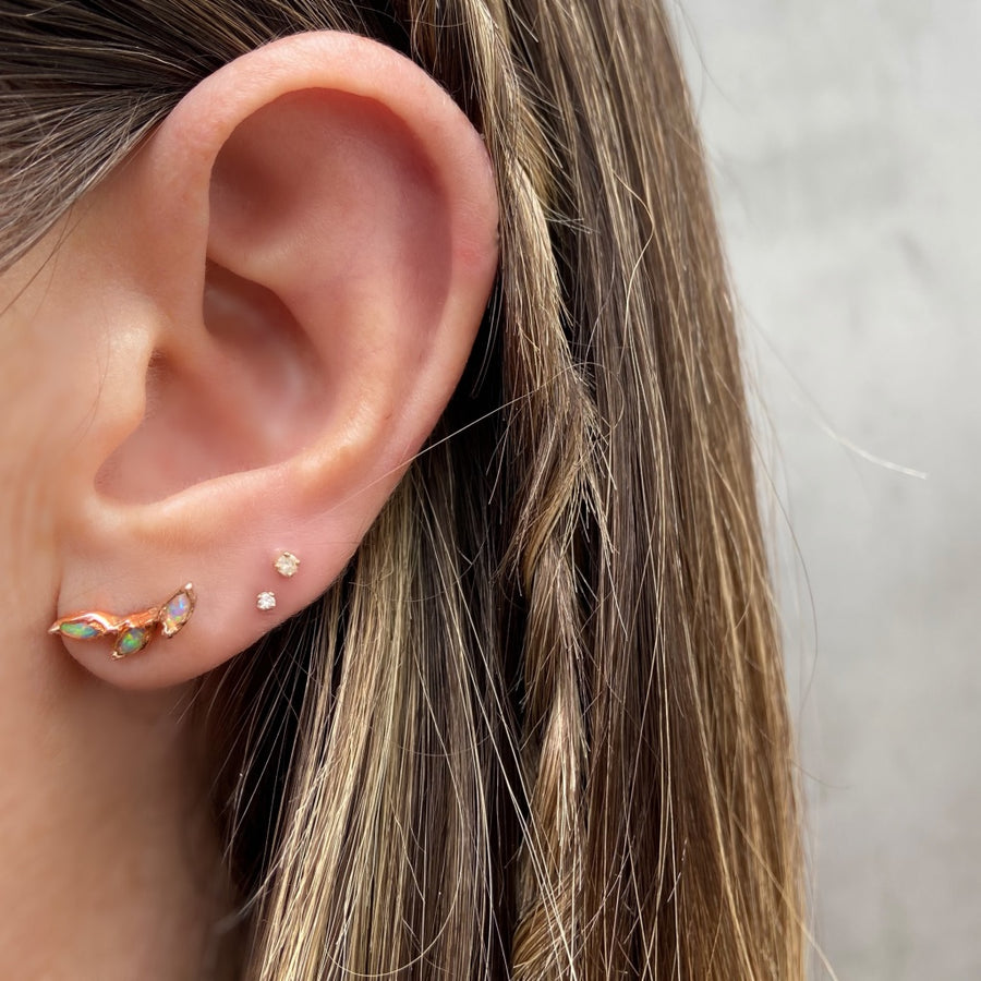 Three Leaf Opal Stud, Rose Gold