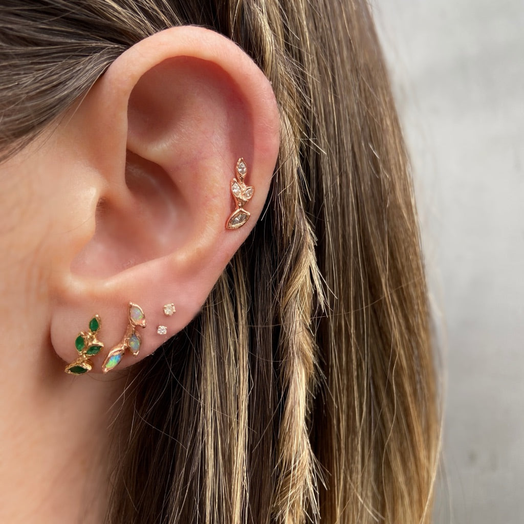 Four Leaf Emerald Stud, Yellow Gold