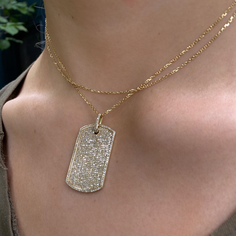 Large Diamond Dog Tag, Yellow Gold