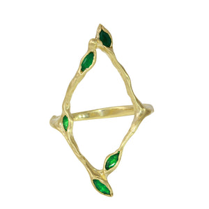 Five Leaf Emerald Ring