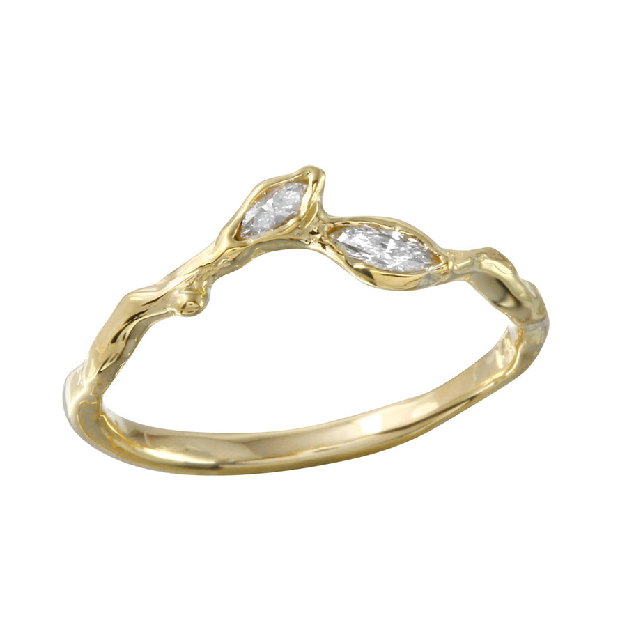 Two Leaf Marquise Diamond Ring