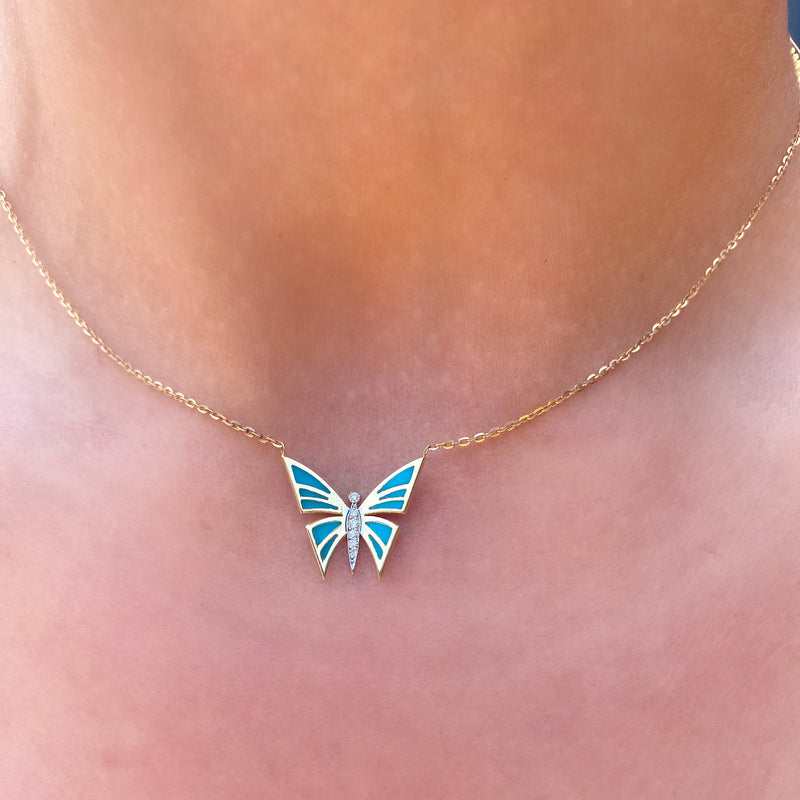Enamel Butterfly Necklace, White Diamonds, Yellow Gold