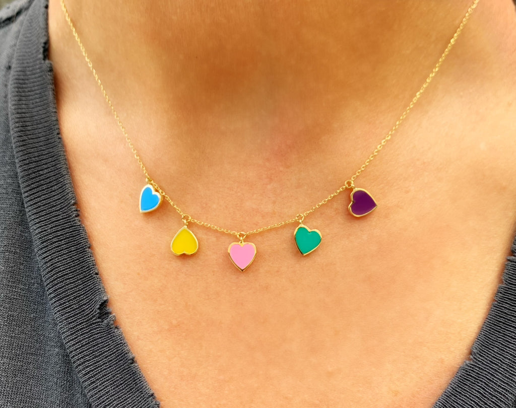 Blue, Pink, Yellow, Green, and Purple Enamel Heart Necklace