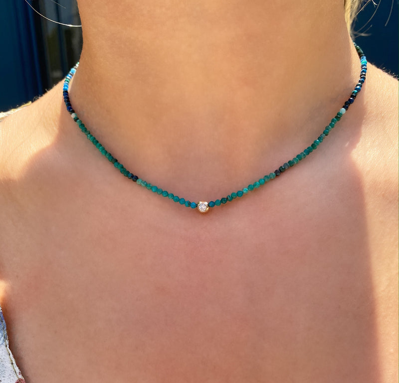 Beaded Chrysocolla and Diamond Necklace
