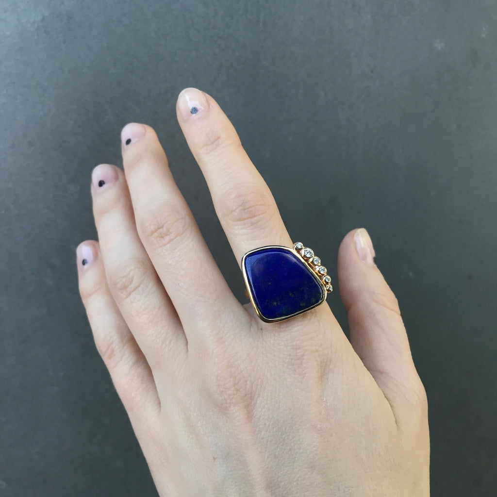One of a Kind Lapis and Diamond Ring, 14k YG