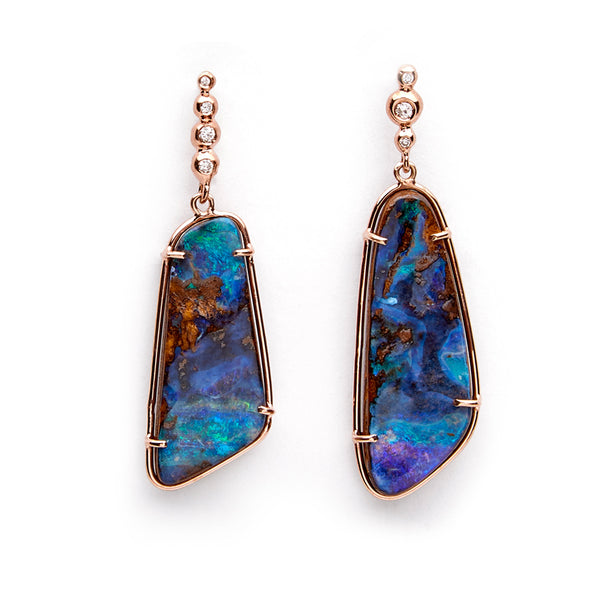 One of a Kind Dark Blue Boulder Opal and Diamond Earrings, 14k YG