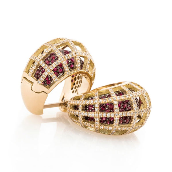 Matrix Double Earrings, Gold, Ruby and White Diamond