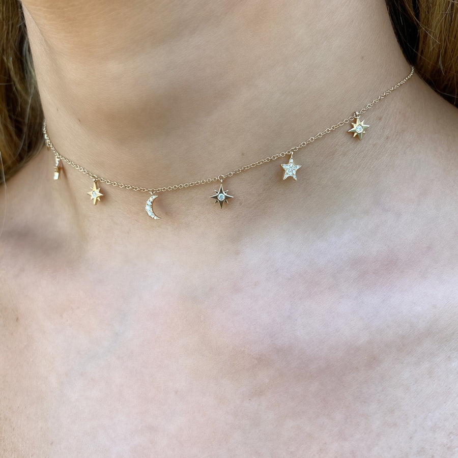 Moon & Star Necklace in Yellow Gold