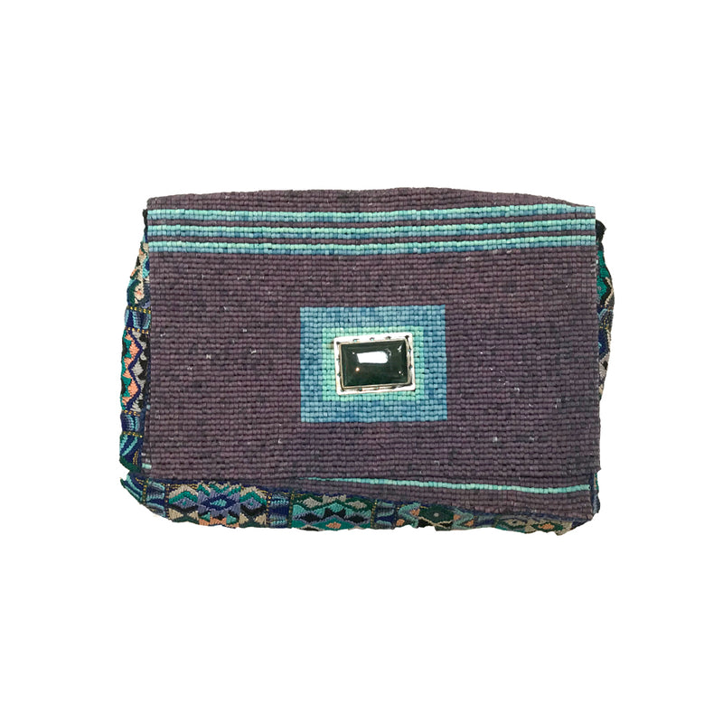 Green Jade Purple Beaded Clutch