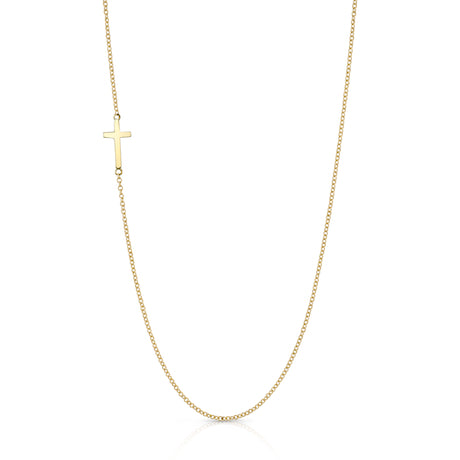 Tiny Cross Necklace, Yellow Gold