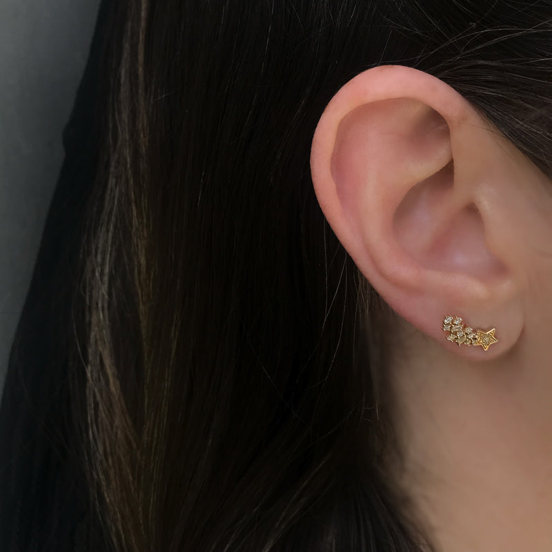 Star Dust Studs, Gold and Diamond Pave