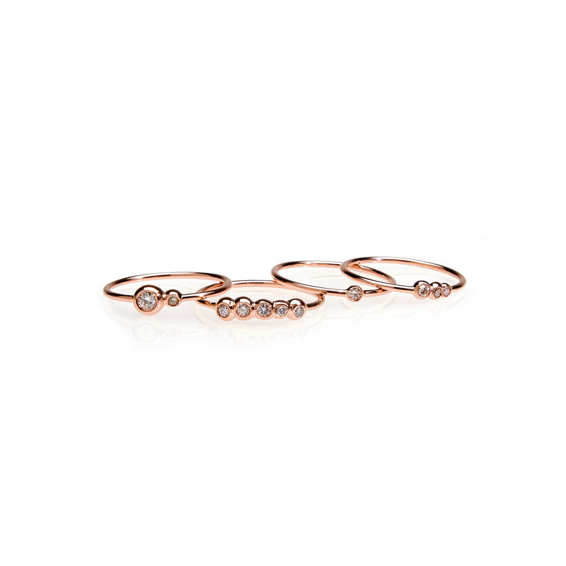 Three Diamond Stack Ring, 14k RG